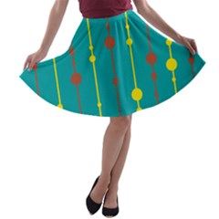 Green, yellow and red pattern A-line Skater Skirt