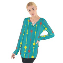 Green, yellow and red pattern Women s Tie Up Tee