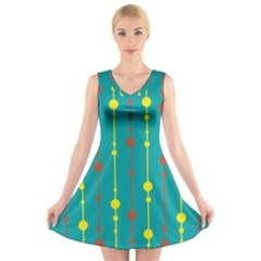 Green, yellow and red pattern V-Neck Sleeveless Skater Dress