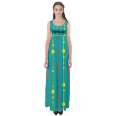 Green, yellow and red pattern Empire Waist Maxi Dress