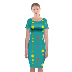 Green, yellow and red pattern Classic Short Sleeve Midi Dress