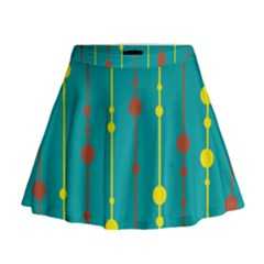 Green, yellow and red pattern Mini Flare Skirt