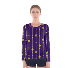 Deep blue, orange and yellow pattern Women s Long Sleeve Tee