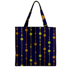Deep blue, orange and yellow pattern Zipper Grocery Tote Bag
