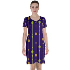 Deep blue, orange and yellow pattern Short Sleeve Nightdress