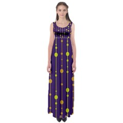Deep Blue, Orange And Yellow Pattern Empire Waist Maxi Dress