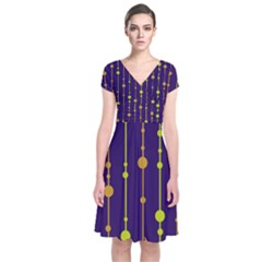 Deep blue, orange and yellow pattern Short Sleeve Front Wrap Dress
