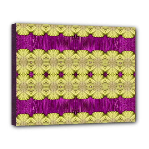 Purple Gold Floral And Paradise Bloom Canvas 14  X 11