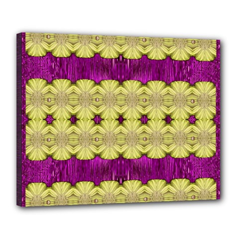 Purple Gold Floral And Paradise Bloom Canvas 20  X 16