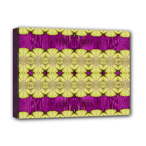 Purple Gold Floral And Paradise Bloom Deluxe Canvas 16  x 12
