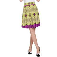 Purple Gold Floral And Paradise Bloom A Line Skirt