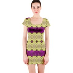 Purple Gold Floral And Paradise Bloom Short Sleeve Bodycon Dress