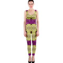 Purple Gold Floral And Paradise Bloom Onepiece Catsuit