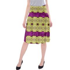 Purple Gold Floral And Paradise Bloom Midi Beach Skirt