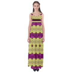 Purple Gold Floral And Paradise Bloom Empire Waist Maxi Dress