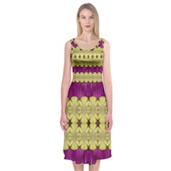 Purple Gold Floral And Paradise Bloom Midi Sleeveless Dress