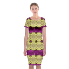 Purple Gold Floral And Paradise Bloom Classic Short Sleeve Midi Dress
