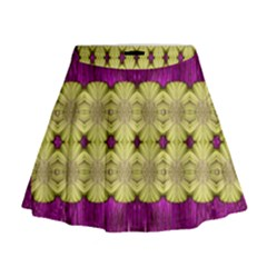 Purple Gold Floral And Paradise Bloom Mini Flare Skirt