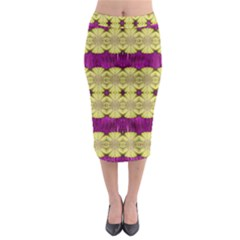 Purple Gold Floral And Paradise Bloom Midi Pencil Skirt