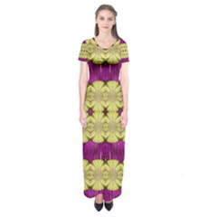 Purple Gold Floral And Paradise Bloom Short Sleeve Maxi Dress