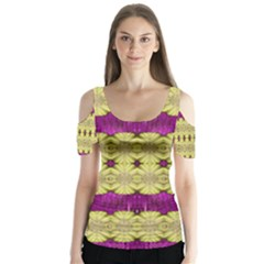 Purple Gold Floral And Paradise Bloom Butterfly Sleeve Cutout Tee