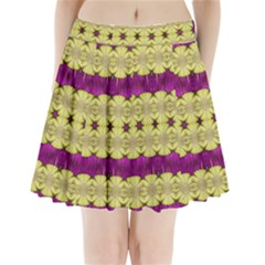 Purple Gold Floral And Paradise Bloom Pleated Mini Mesh Skirt