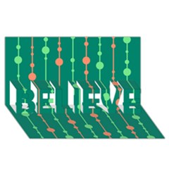 Green pattern BELIEVE 3D Greeting Card (8x4)