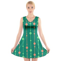 Green Pattern V Neck Sleeveless Skater Dress