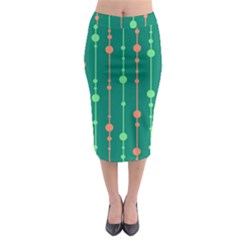 Green pattern Midi Pencil Skirt