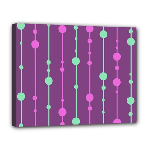 Purple and green pattern Canvas 14  x 11