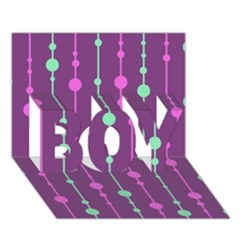 Purple and green pattern BOY 3D Greeting Card (7x5)