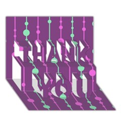 Purple and green pattern THANK YOU 3D Greeting Card (7x5)