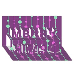 Purple and green pattern Merry Xmas 3D Greeting Card (8x4)