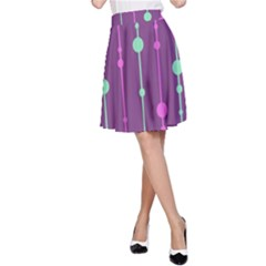Purple and green pattern A-Line Skirt