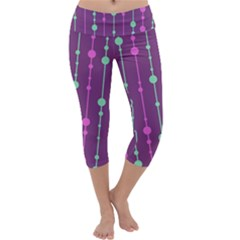 Purple And Green Pattern Capri Yoga Leggings