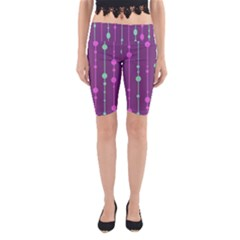 Purple And Green Pattern Yoga Cropped Leggings