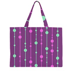 Purple And Green Pattern Zipper Large Tote Bag