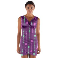 Purple and green pattern Wrap Front Bodycon Dress
