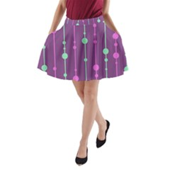 Purple and green pattern A-Line Pocket Skirt