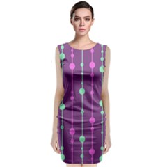 Purple and green pattern Classic Sleeveless Midi Dress