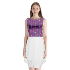 Purple and green pattern Sleeveless Chiffon Dress
