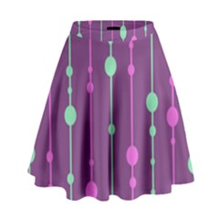 Purple and green pattern High Waist Skirt
