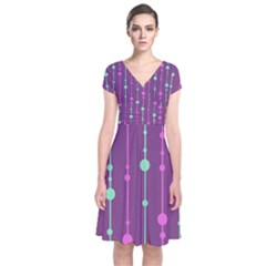 Purple And Green Pattern Short Sleeve Front Wrap Dress