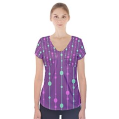 Purple and green pattern Short Sleeve Front Detail Top