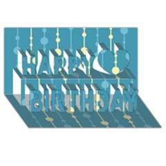 Blue pattern Happy Birthday 3D Greeting Card (8x4)