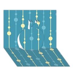 Blue pattern Apple 3D Greeting Card (7x5)