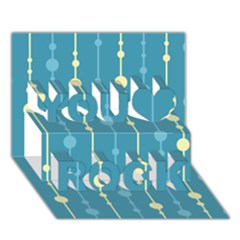 Blue pattern You Rock 3D Greeting Card (7x5)