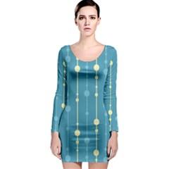 Blue pattern Long Sleeve Bodycon Dress