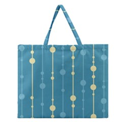 Blue pattern Zipper Large Tote Bag