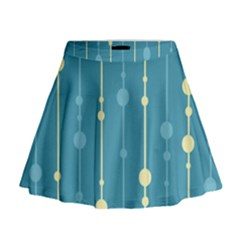 Blue Pattern Mini Flare Skirt